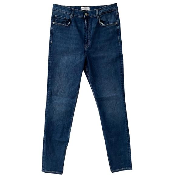 Zara High Waisted Medium Dark Wash Skinny Jeans